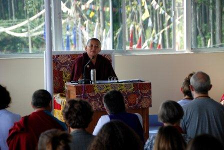Jetsun Khandro Rinpoche teaching during the 2011 Mindrolling Retreat in India.