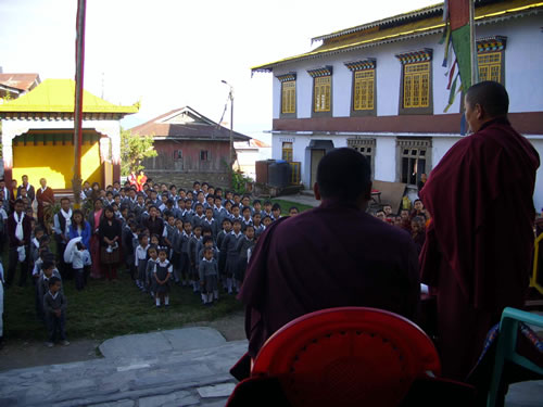 HE Jetsün Khandro Rinpoche addressing a group of school students and their teachers at Pema Yangtse.