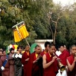 The procession of Mindrolling monks with the kudung of Kyabje Thrinley Norbu Rinpoche.