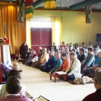 Rinpoche teaching during the Rigdzin Thughthig empowerment at Lotus Garden