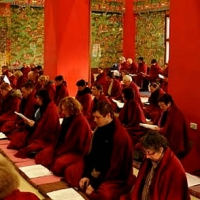 Practitioners in the Great Stupa at Mindrolling Monastery