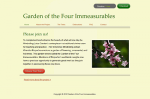 Donation web site for the Garden of the Four Immeasurables