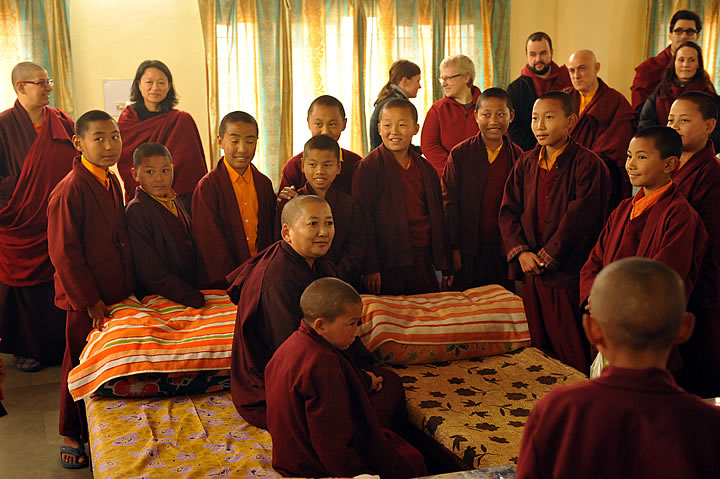 Jetsun Khandro Rinpoche visits with some of the young monks at Mindrolling Monastery.