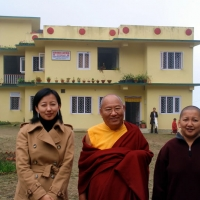 Jetsün Khandro Rinpoche, His Eminence Khochhen Rinpoche and Jetsün Dechen Paldrön visiting a medical clinic in Lava which is supported by Samten Tse Charitable Society
