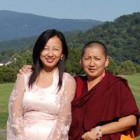 Jetsün Khandro Rinpoche with Jetsün Dechen Paldrön at Lotus Garden.