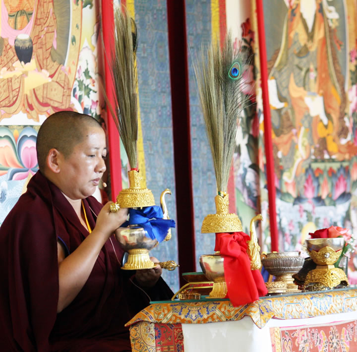 Jetsün Khandro Rinpoche bestowing the Rigzin Thugthig empowerment at Lotus Garden in September 2012.