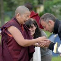 Jetsün Khandro Rinpoche with sangha members upon her arrival in Denmark.