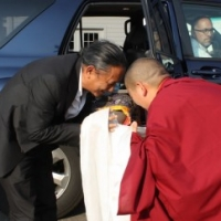 His Eminence Dzigar Kongtrul Rinpoche is welcomed to the 2012 Lotus Garden Shedra by Jetsün Khandro Rinpoche.