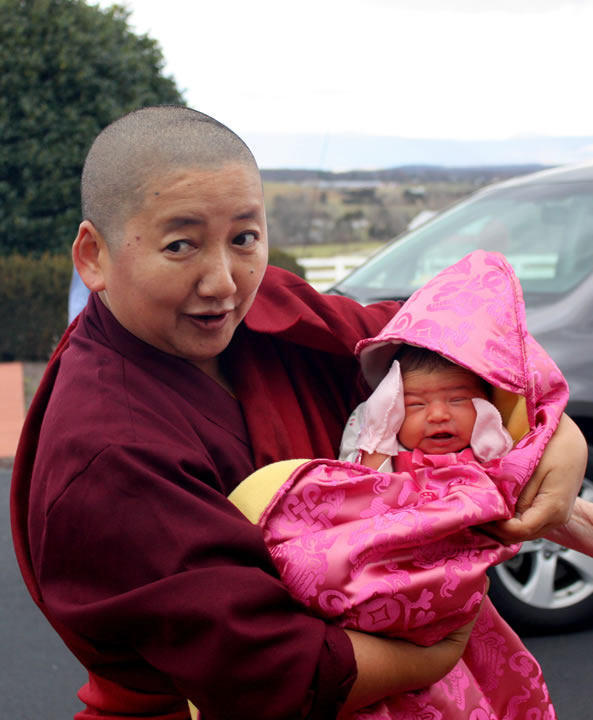 Jetsün Khandro Rinpoche introduces her niece Jetsün Gautami Thrinley Choedron, upon their arrival at Lotus Garden, December 2012.