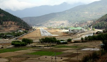 View of the runway at Paro airport.