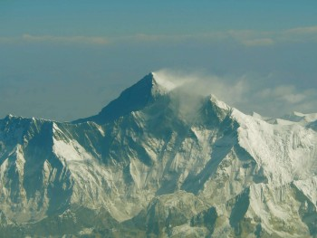 The flight passed over the Himalayan mountain range and offered a spectacular view of Mt. Everest.