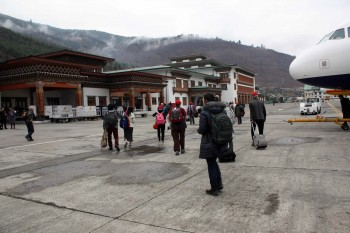 Arrival at Bhutan's main airport in Paro.