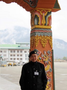 An airport officer at Paro.