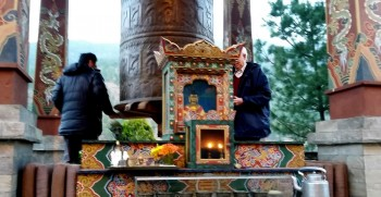 Prayer wheel and shrine in the courtyard of the Taj Hotel in Thimphu.