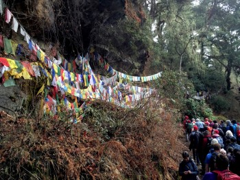 Pilgrims with prayer flags.