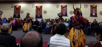 In the evening, the group is treated to a delightful performance by professional dancers and musicians of Bhutan.