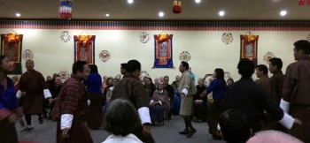 The bus drivers, guides and friends offer their version of a traditional dance and invited the audience to join in.
