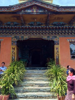 Entrance to the shrine room of Zangthopelri Lhakhang where the group offered a ganachakra of Rigdzin Thughthig.