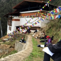 Practicing outside the temple of Vajrayogini.