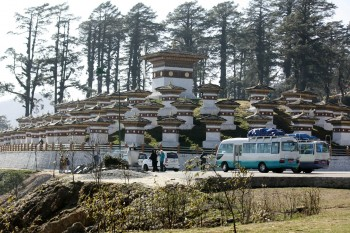 Some of the 108 chotens at Dochula Pass built as a memorial to Bhutanese soldiers.