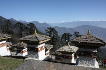 Some of the 108 chotens built at Dochula Pass as a memorial to fall Bhutanese soldiers.