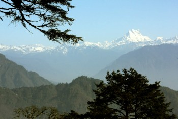 View of the Himalayan range from Dochula Pass.
