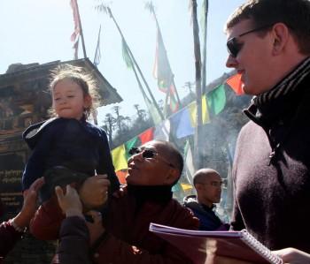 Dungse Rinpoche with Lama Riga la and Kunda Britton Bosarge at Pelela Pass.