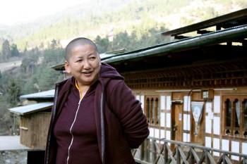 Mindrolling Jetsün Khandro Rinpoche during a rest stop.