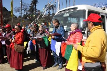 Preparing to hang prayer flags at Pelela Pass.
