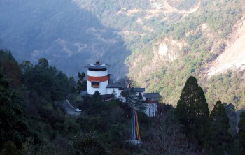 The watch-tower of Trongza Dzong was built in 1652. It now houses a museum..