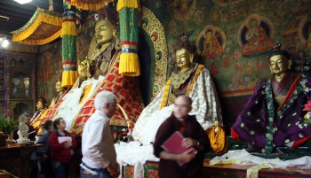 Tharpaling Monastery shrine room includes statues of Guru Rinpoche, Longchenpa and Pema Lingpa.