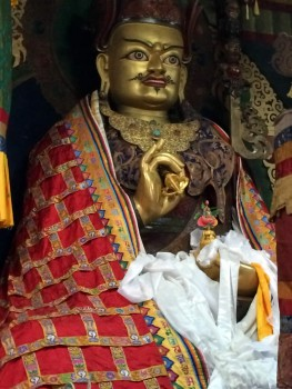 Statue of Guru Rinpoche in Tharpaling Monastery shrine room.