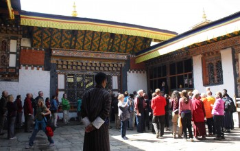 The courtyard of Jampa'i Lhakhang.