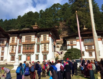Gathering at Kurjey Lhakhang for the Ganachakra.