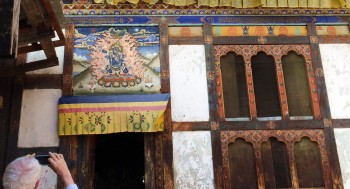Mural at Konchogsum Lhakhang built by King Trisong Deutsen.