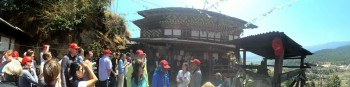 Gathering outside Tamshing Lhakhang.