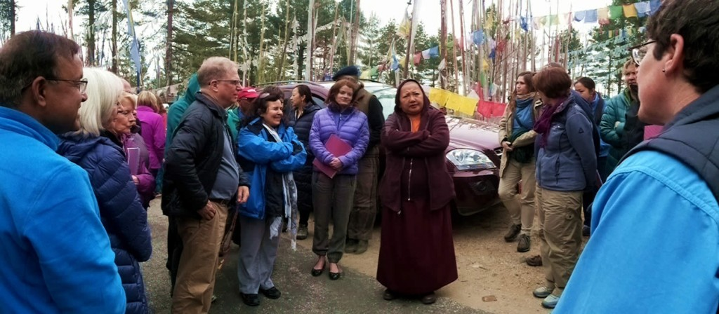 Jetsün Khandro Rinpoche and students during a return visit to Pelela pass.