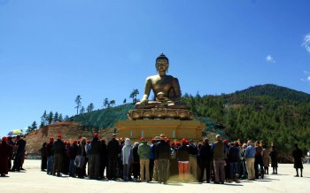 Group members admiring the 169 foot tall Buddha Dodenma.