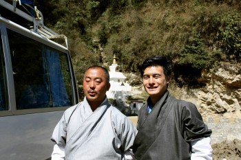 Driver Samdrub la and guide Kenzang la from bus number 4.