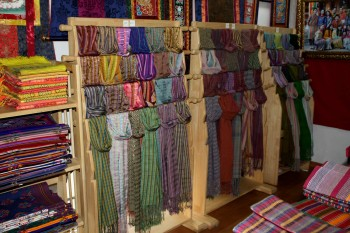 Display of Bhutanese textiles. Weaving is considered one of the 7 great crafts of Bhutan.