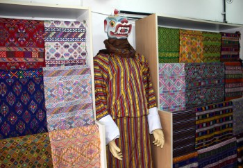 More Bhutanese textiles on display in Thimphu.