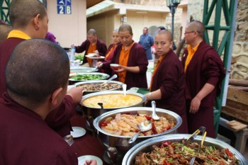 The luncheon features many delicious Bhutanese dishes.
