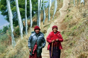 Two Bhutanese nuns on the path to Drak Karpo.