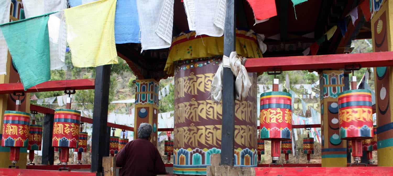 Prayer wheels at Drak Karpo.