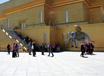 Group members admire the magnificent artwork on the exterior of the Buddha Dodenma shrine—here the 'precious elephant' from the mandala offering.