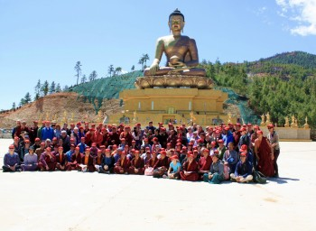 The pilgrimage group gathers for a photo at Künsel Phodrang.