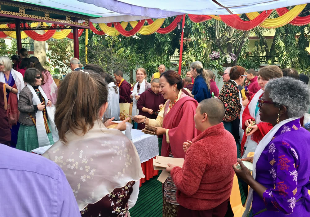 Minling Jetsün Dechen Paldrön gathers with members of the Western sangha on Losar