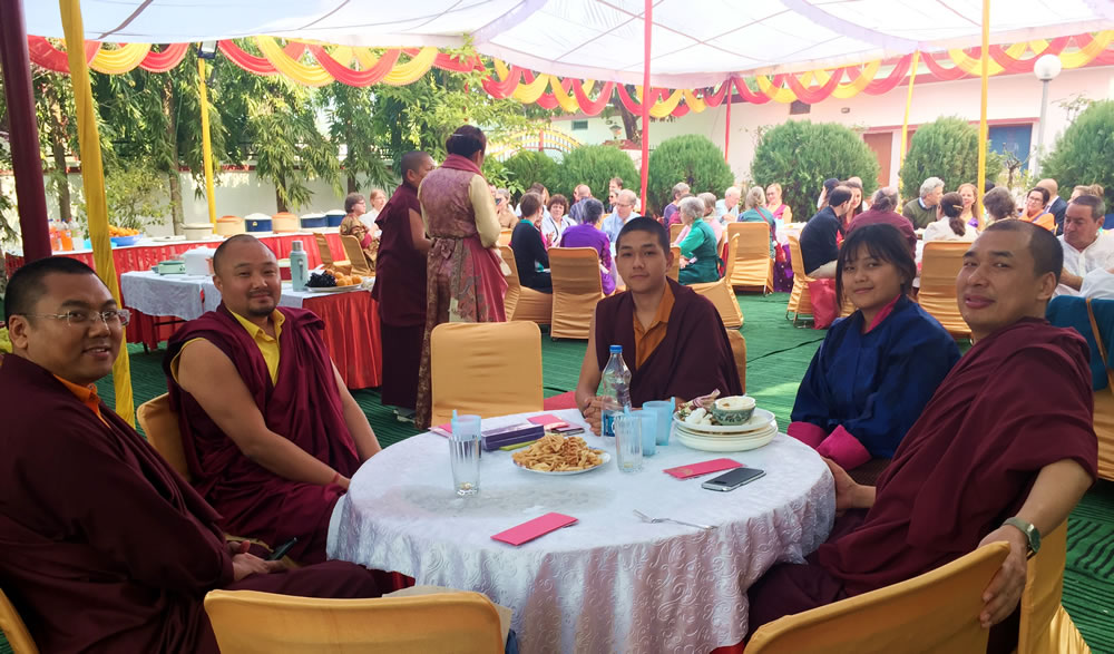 Venerable Namdrol Gyatso, Venerable Sonam Topgyal, Venerable Thinley Gyalsten and friends relaxing on Losar