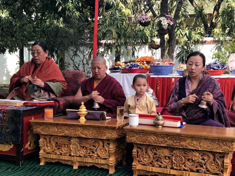 Minling Sangyum Kushog, Jetsün Khandro Rinpoche, Jetsün Dechen Paldrön and Jetsün Rinpoche during the practice of the Minling Dorsem