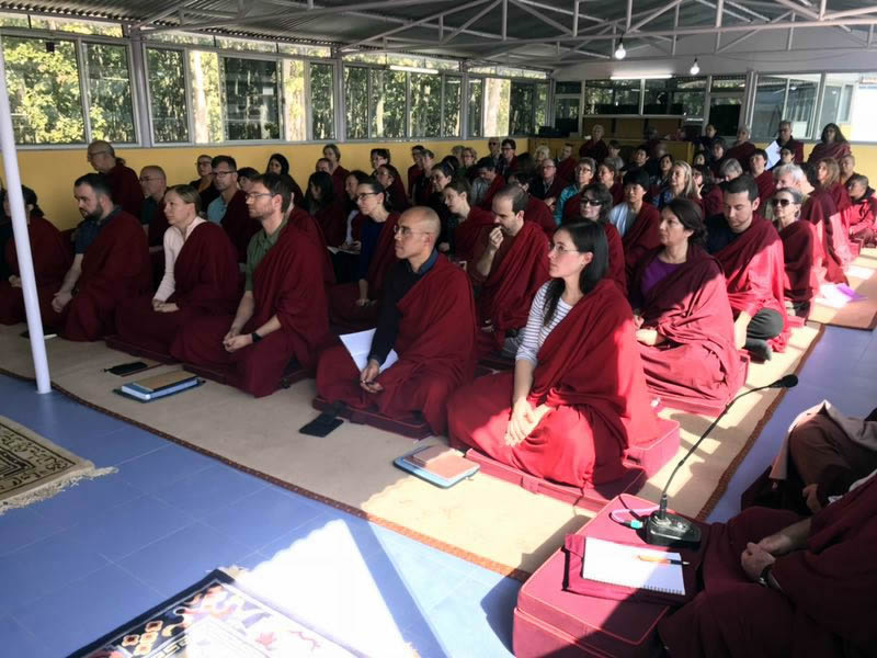 Members of the Western sangha listening to a teaching by HE Jetsün Khandro Rinpoche